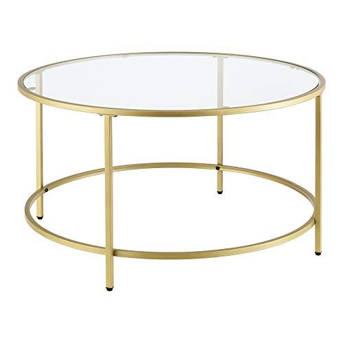 [en.casa] Couchtisch Kouvola Glas-Tischplatte Stahlgestell Glastisch 84 x 45,5 cm Wohnzimmertisch Kaffeetisch Gold