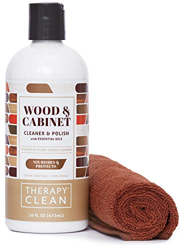 Therapy Wood Cleaner and Polish Kit with Large Microfiber Cloth, 16 fl. oz. - Best Used as Furniture, Wood Table Cleaner, Cabinet Restorer, Conditioner, Polish Spray