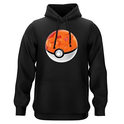 Okiwoki Sweat-Shirt à Capuche Noir Parodie Pokémon - La Poké Ball de Pikachu - Pika Pas Cool ! (Sweatshirt de qualité Premium de Taille 3XL - imprimé en France)