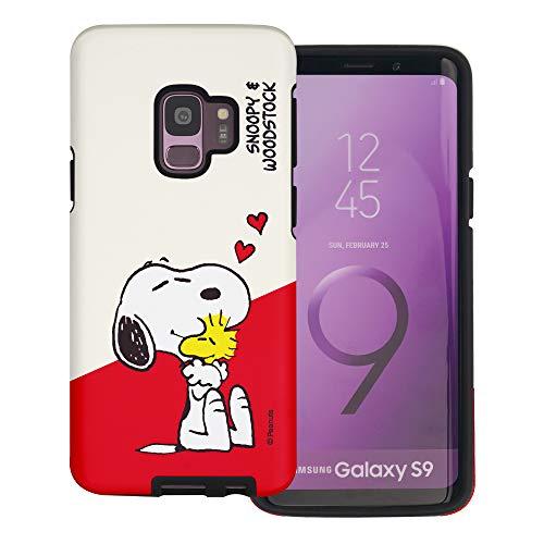 Galaxy S9 Plus ケース と互換性があります Peanuts Snoopy ピーナッツ スヌーピー ダブル バンパー ケース デュアルレイヤー 【 ギャラクシー S9 プラス ケース 】 (対角線 スヌーピー) [並行輸入品]