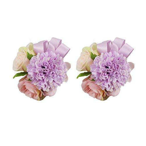 USIX 2pc Pack-Handmade Artificial Rose Dahlia Flower Wrist Corsage Wristband for Girl Bridesmaid Wedding Party Prom Flower Corsage Hand Flower (Lavender Wrist Corsage x2)