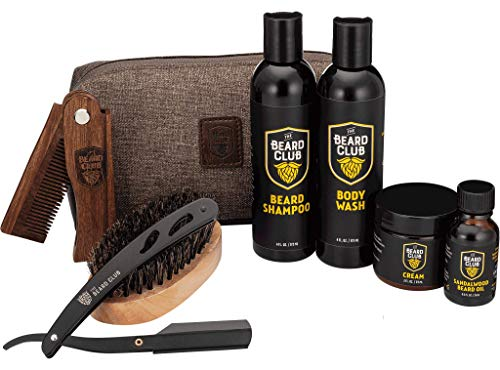 The Beard Club | Beard Care Grooming Gift Kit | Sandalwood Beard Oil, Beard Cream, Straight Edge Razor, Beard Shampoo, Boar Bristle Beard Brush, Beard Comb, Travel Bag