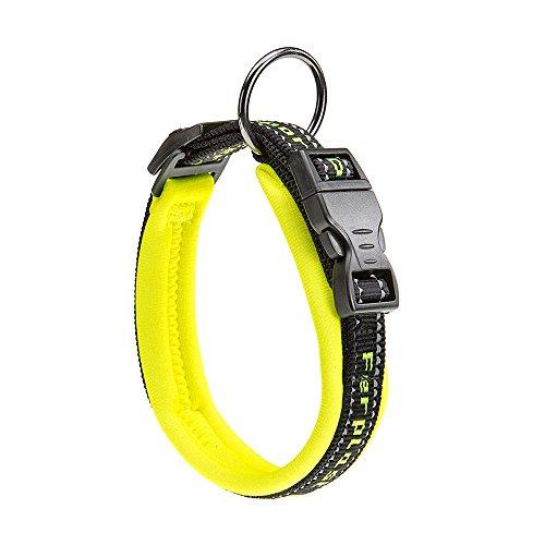 Ferplast Collier pour chiens SPORT DOG C15/35, poignée rembourée, ceinture réfléchissante, étiquette porte-nom, A: 25÷35 cm - B: 15 mm jaune