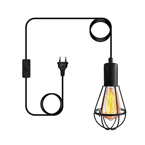 Lámpara de Suspensión Vintage Lámpara Colgante Retro de Metal con Cable de 4.5M, Lámpara con Interruptor y Enchufe, para Comedor, Dormitorio, Café (Bombilla No Incluida)