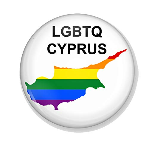 Gifts & Gadgets Co. LGBT Flag On Map Of Cyprus Button Badge 38mm Round...
