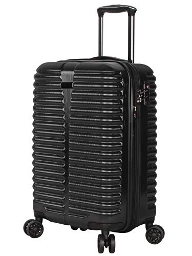Ciao 20 Inch Carry On with Built-in TSA Lock - Scratch Resistant 100% Polycarbonate Suitcase - Lightweight Expandable Luggage With 8-Rolling Spinner Wheels (Black With TSA Lock)