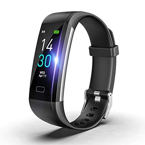 SLuB Fitness Tracker, Braccialetto Intelligente con Funzione di Monitoraggio Della Frequenza Cardiaca e Della Pressione Sanguigna, Contapassi, Impermeabile IP68, Compatibile con Android e iOS (Nero)