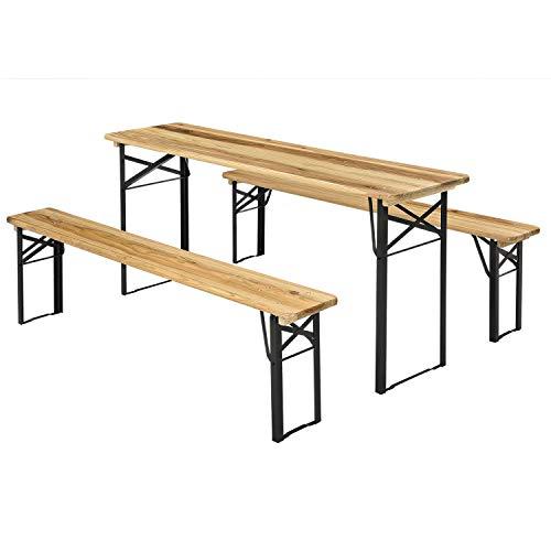 Juskys Bierzeltgarnitur Bichl 3-teilig klappbar - Gartenmöbel-Set aus 1 Biertisch + 2 Bierbänke – Festzeltgarnitur Holz Metall