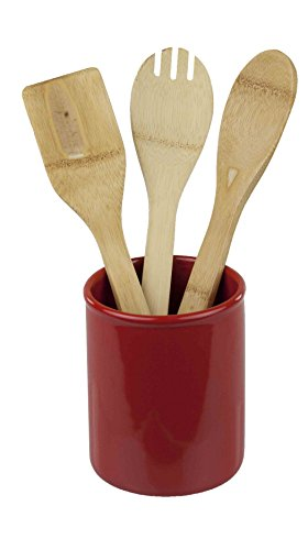 Home Basics Ceramic Cutlery Holder (Red)