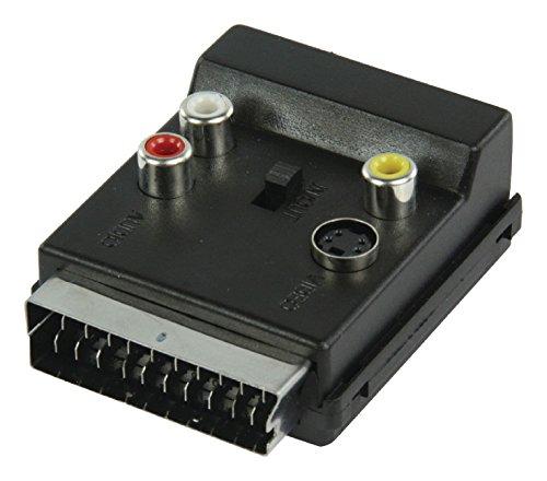 KnnX Umschaltbarer IN/Out SCART-Stecker auf SCART-Buchsenadapter mit Cinch-Phono-Audio-Video-Anschlüssen | Super Video | 2 x Cinch-Phono-Audioadapter, 1 x Cinch-Phono-Video, 1 x S-Video-Buchse
