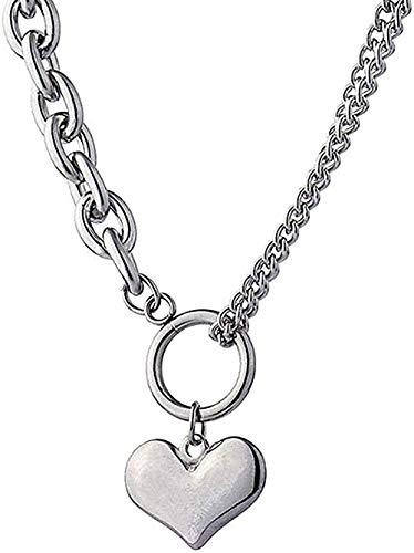 ZPPYMXGZ Co.,ltd Collar Collar de Moda para Mujer Bonito Colgante de corazón Collar de Plata de Plata Collar de Cuello Cadena Accesorios Collar Collar de Regalo