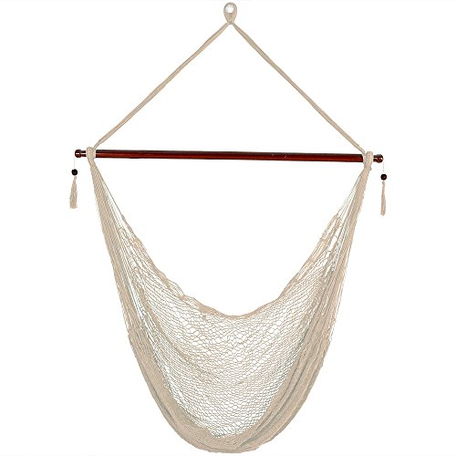 Sunnydaze Hanging Rope Hammock Chair Swing - Cabo Style Extra Large Hanging Chair with Spreader Bar for Backyard & Patio - 360-Pound Capacity - Cream