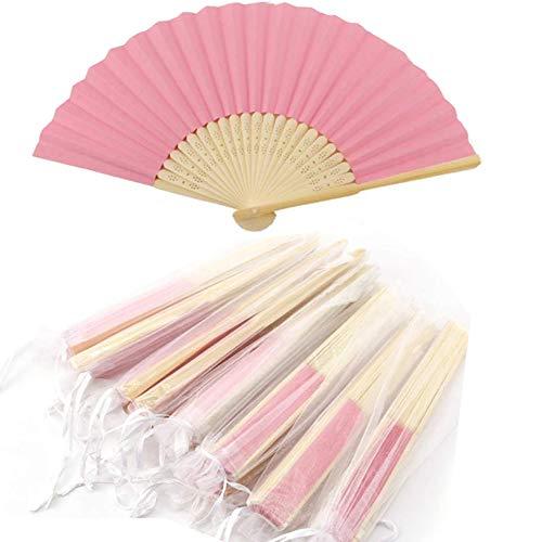 Abanico de tela Abanico Decoración plegable Bambú Ventilador Banquete de boda Regalo del favor del partido con el bolso del organza (Rosa, 10 piezas)