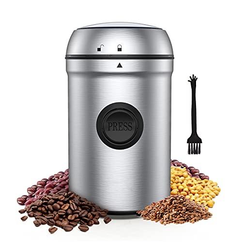 Kaffeemühle Elektrische, 80g Kaffeemühle, 200W Edelstahl Mühle, 25000 U/min Getreidemühle Elektrisch, mit 304 Edelstahlklingen und Reinigungsbürste, für Kaffeebohnen Nüsse
