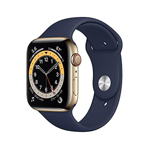 AppleWatch Series6 (GPS+Cellular) - Caja de Acero Inoxidable enOro de 44mm - Correa Deportiva Azul Marino Intenso
