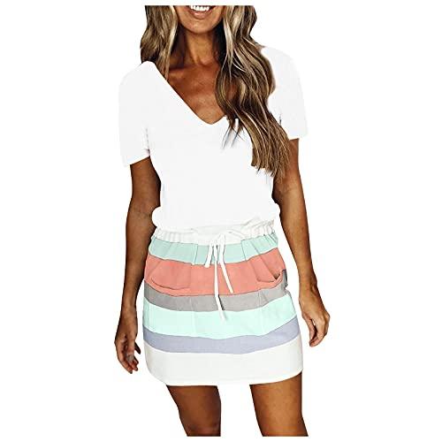 Womens Summer Mini Dress Tops, Striped Printing Patchwork Short Sleeve Casual V Neck Drawstring Pocket Dresses