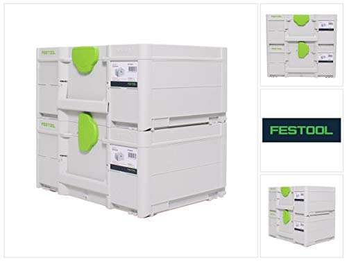 Festool Systainer Set 2x SYS3 M 187 (2x 204842) 15,9 Liter 396x296x187mm Werkzeugkoffer koppelbar