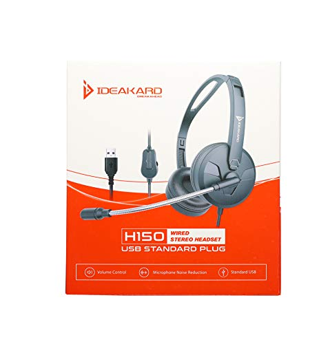 Ideakard H150 Lightweight USB Standard Plug Wired Stereo Headset with Noise Reduction Microphone and Volume Control