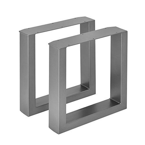 [en.casa] 2 x Conjunto de Patas de Mesa Set de 2X Patas de Mesa - Metal Patas de los Muebles 40 x 43 cm para Banco o para Mesa de Centro Armazón de Mesa Protección Suelo Gris metálico