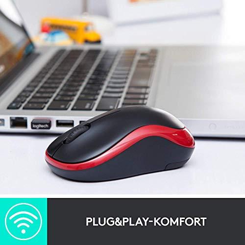 Logitech M185 Kabellose Maus, 2.4 GHz Verbindung via Nano-USB-Empfänger, 1000 DPI Optischer Sensor, 12-Monate Akkulaufzeit, Für Links- und Rechtshänder, PC/Mac - Grau, Englische Verpackung