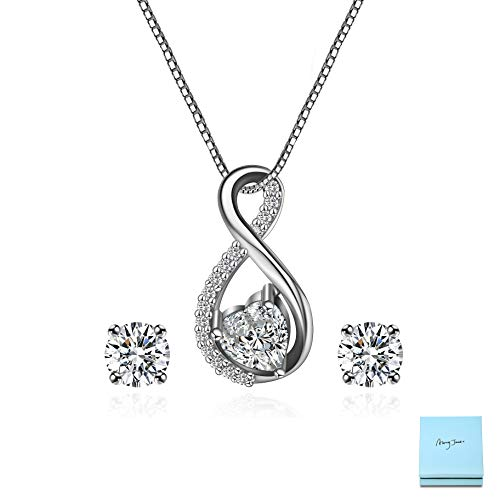 AMYJANE CZ Jewelry Set for Women - Sterling Silver Cubic Zirconia Crystal Infinity Pendant Necklace Stud Earring Set for Wedding Bridal Bride Bridesmaids Platinum Plated Infinity Jewelry