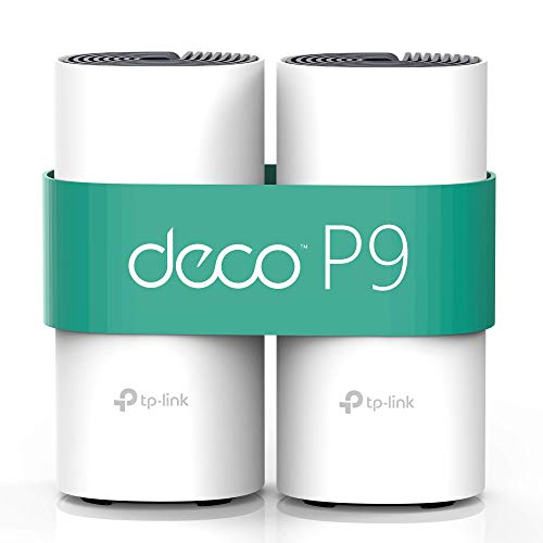 TP-Link Deco P9 (2-Pack) - PLC Wi-Fi Mesh Híbrido con Powerline, Adecuado para Paredes Gruesas, Powerline AV1000 + WiFi AC1200 Cobertura de hasta 370 ㎡, Compatible con Alexa