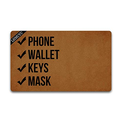 Home Decor Phone Wallet Keys Mask Welcome Mat with Rubber Backing Doormat Entrance Floor Mat Non-Slip Entryway Rug Easy Clean 30 X 18 Inches