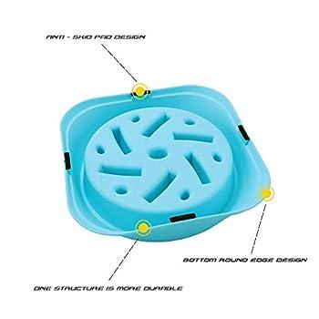 Txyk Gamelle d'alimentation Lente pour Chiens, Alimentation Ralentie et Interactive pour Les Animaux Bleu Durable de Cuvette d'eau de Boisson d'animal familier antidérapant carré Bleu