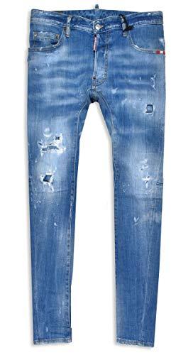 DSQUARED2 Herren Jeans Tidy Biker Jean medium Blue Distressed Dsquared 2