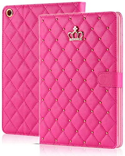 Topwin iPad 10.2 2019 Case,iPad 7th Generation Case Crown Design Bling Diamond Cute Elegant PU Leather Smart Auto Sleep/Wake Stand Shockproof Case for Apple iPad 10.2 inch 7th Gen 2019 (Rose Red)