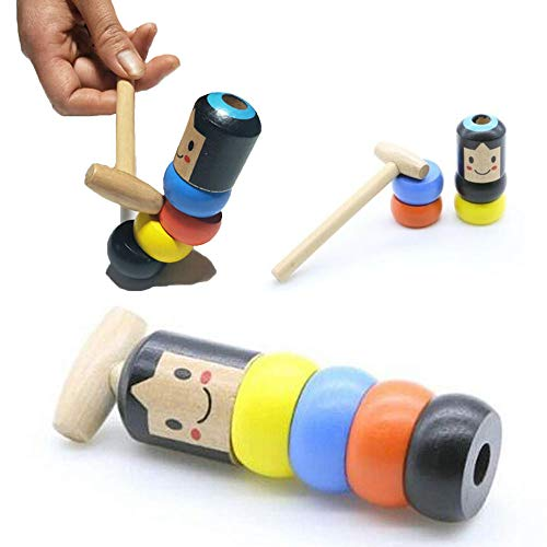 GJPQ Unbreakable Wooden doll,Halloween Funny Wooden Magic Toy Automatic Assemble Toys for Kids Rainbow Tower