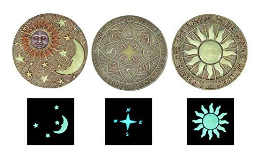 HCH 3 x Leuchtender Trittstein Deko-Stein Zierstein Stein Beet Garten Gehweg Set 3 Motive Himmelssymbole leuchtet im Dunkeln