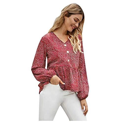 Dasongff dames blouse V-hals lange mouwen shirt knoop shirt High Waist ruche crop tops lange mouwen top stijlvol elegante trui vintage baggy Large rood