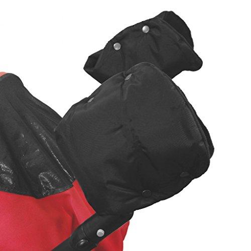 ByBoom® - Handwärmer mit Fleece - Innenfutter, Muff Universal für Buggy, Radanhänger, 1 Paar, Farbe:Schwarz