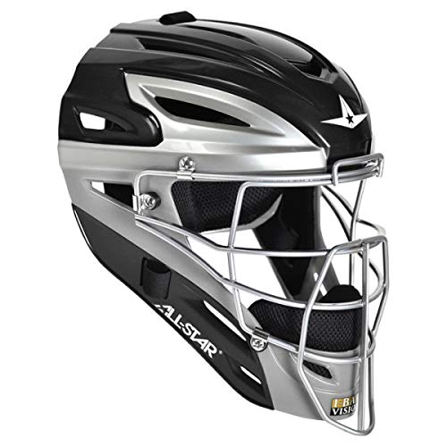 All Star Adult Pro Model 2-Tone Blk/Sil Catcher's Helmet