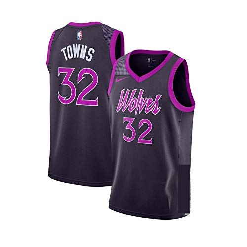 Trikot Herren Sport Jersey Towns Wolves #32 Basketball Anzug Für Herren Tops Weste Für Basketballfans,Schwarz,M