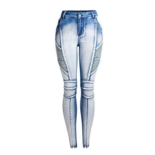 JCNHXD Más el tamaño 4XL Moto Jeans Mujer Skinny Motorcycle Biker Jeans Womens Fit Slim Elstic...