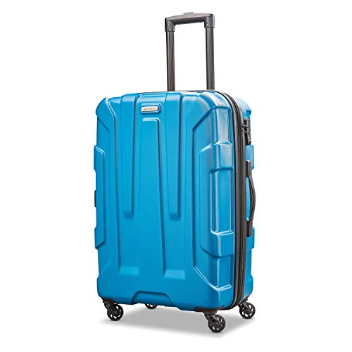 Samsonite Centric Hardside Expandable Luggage with Spinner Wheels, Caribbean Blue, Checked-Medium 24-Inch