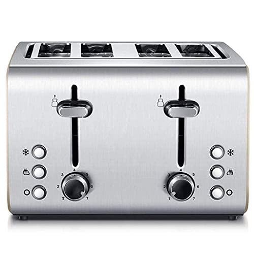 Tostadora 4 Tostadora, tostadora de acero inoxidable con 4 ranuras adicionales de rebanada, 7 ajustes de pan de pan, función de cancelación de recalentamiento de descongelación, bandeja de miga extraí
