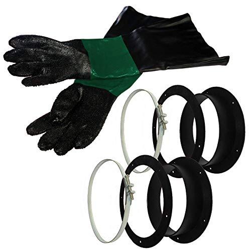 1 Paar lange Sandstrahlhandschuhe inkl. Halter für Sandstrahlkabinen SBC-220/350 sowie SBC-420 & 990 l | Spezielle Handschuhe für Strahlkabine | Aus Leder & PU