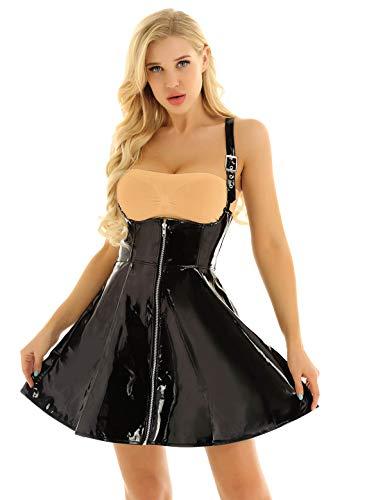Agoky Damen Wetlook Lack Leder Kleid Vollbrust Corsagenkleid Korsett Partykleid A-Linie Knielang Punk Rock Gothic Kostüm Clubwear S-XXL Schwarz XXL