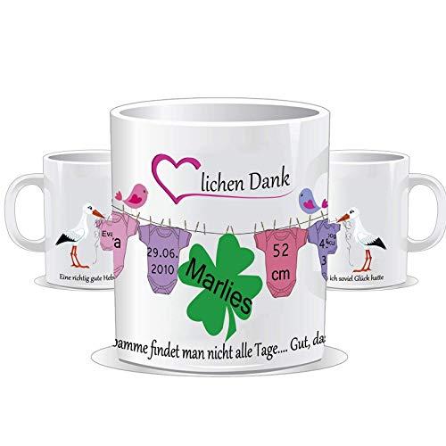 Tasse für die Hebamme Personalisierbar mit den Daten des/der Kinder + Namen der Hebamme / 1-5 Kinder möglich/Farbwahl der Tasse und Bodys