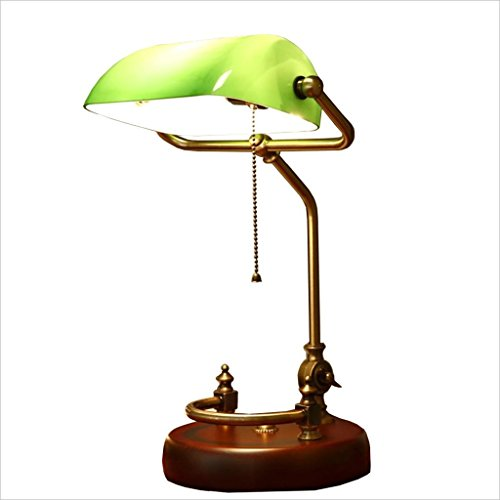 Table Lamp American Retro Style Traditional Antique Brass and Green Banker's Desk Reading Light (Color : A)