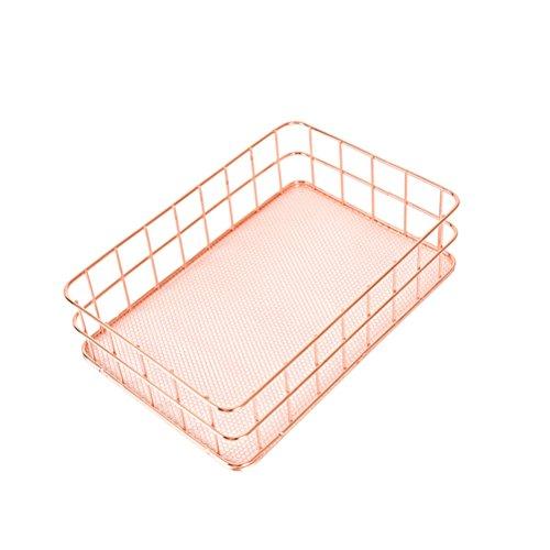 OUNONA Organizador Estante de la cesta de malla de alambre metálico para almacenamiento de ropa de escritorio / bandeja de bocadillos de fruta / portaherramientas de cocina (oro rosa)