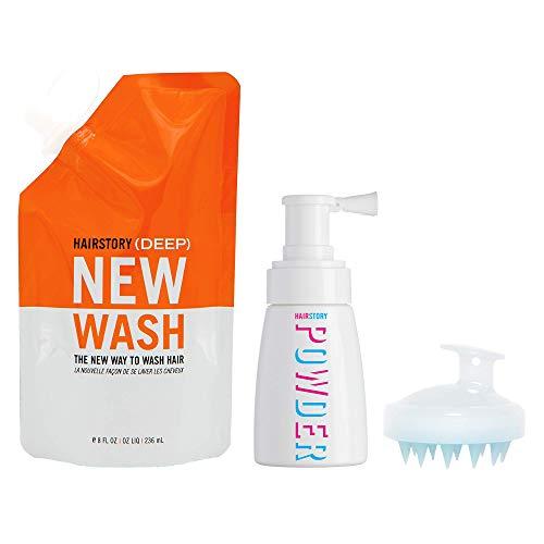 Hairstory KIT New Wash (DEEP): Limpiador capilar 8 oz (236,5 ml aproximadamente) + polvos capilares 1,35 oz (40 ml aproximadamente) + cepillo para limpieza y acondicionamiento del cuero cabelludo