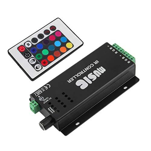 Licini Black 12V/24V DC 2 Channels 24 Key Music IR Remote Controller Sound Sensitive for RGB LED Strip Light Light Accessory