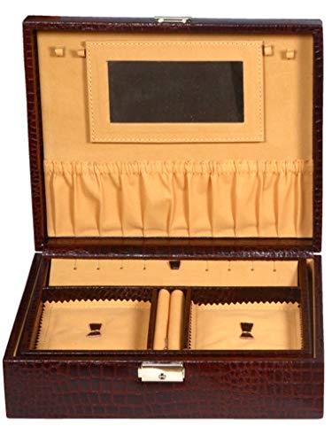 ZINT Caja de joyería de cuero puro con varios compartimentos para llaves de bloqueo de la joya, anillos y colgantes, organizador de viaje
