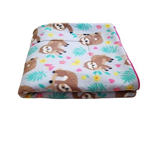 "Courtney's Handmade Pet Bedding Fleece Cage Liner | Multiple Prints & Sizes | Midwest | C&C | Guinea Pig Fleece | Hedgehog Fleece | Reversible | Machine Washable (Midwest (47""x 24""), Girly Sloths)"