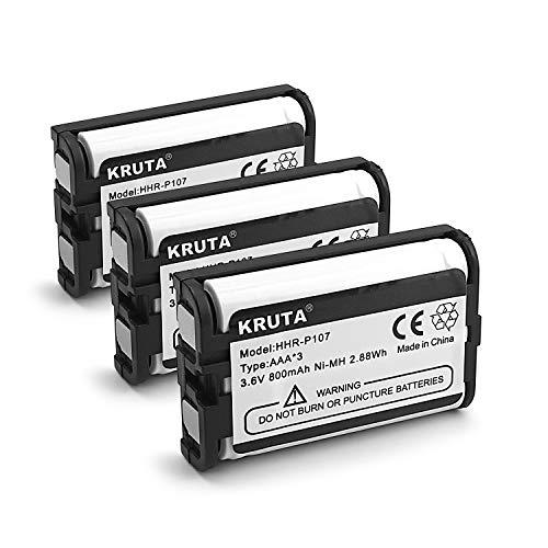 Kruta 3.6v 800mAh HHR-P107 Rechargeable Cordless Phone Battery Compatible with for Panasonic HHR-P107 HHRP107 HHR-P107A HHRP107A Cordless Telephone (Pack 3)