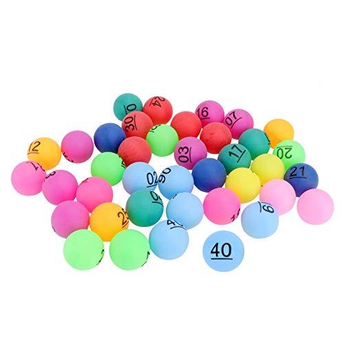 ABOOFAN 30 bolas de bingo de ping-pong numeradas de 1 a 40 bolas de rifle, multicolor, bolas de lotería de 4 cm
